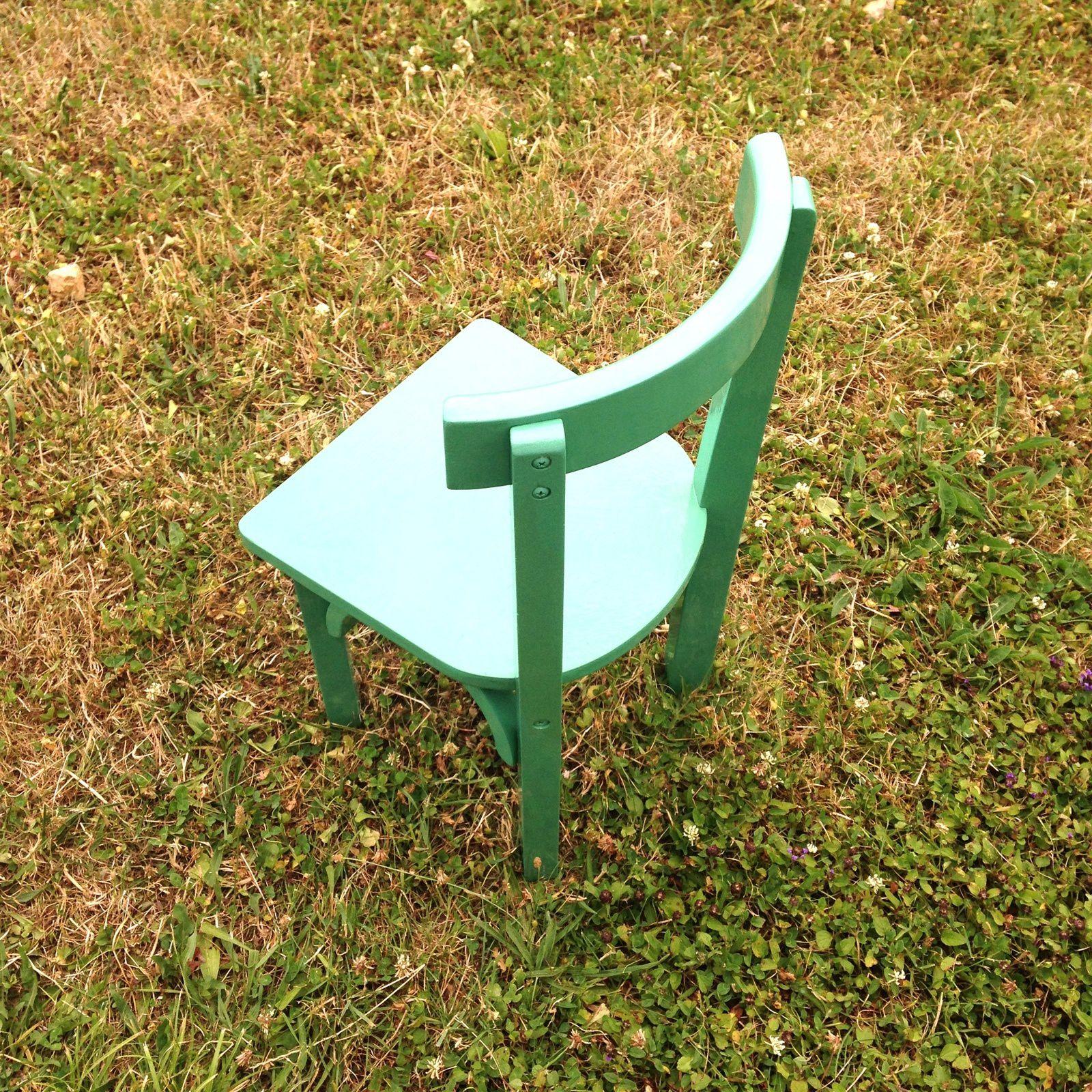 Chaise repeinte  laquée verte transformation charlotteblabla