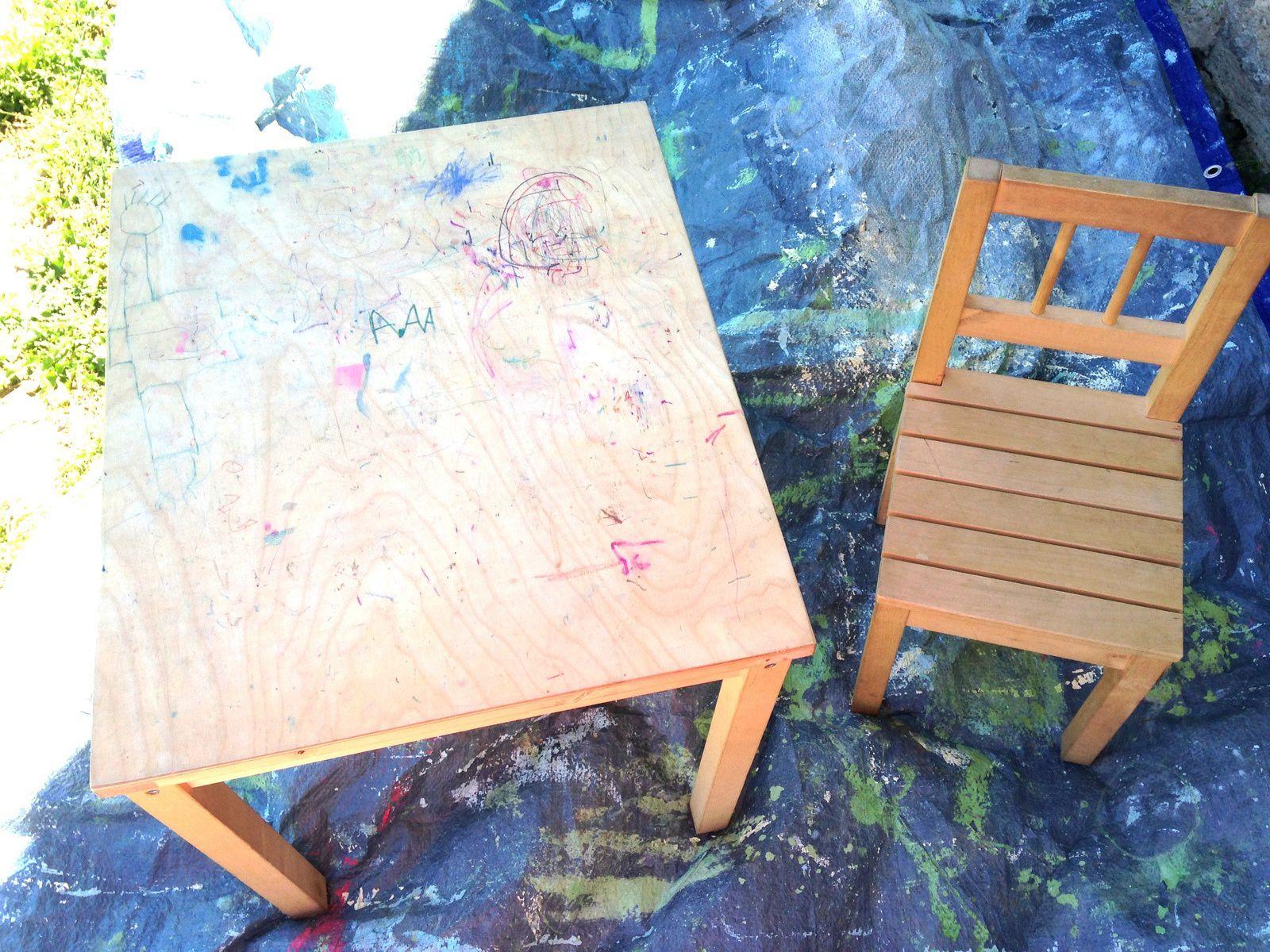 table et chaise d 39 enfant repeintes charlotteblabla. Black Bedroom Furniture Sets. Home Design Ideas