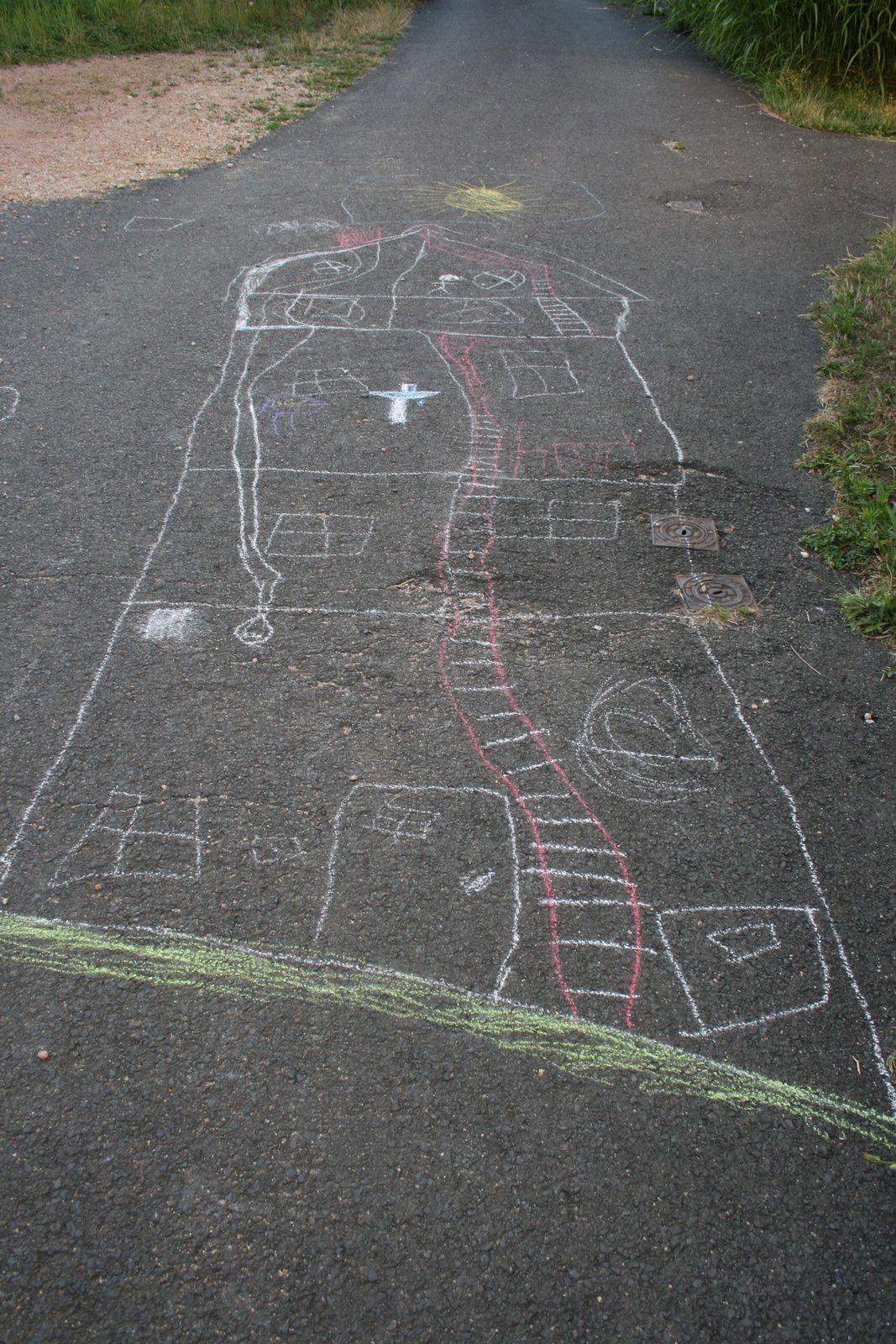 craie, enfant, rue, jeux d'été pour enfants