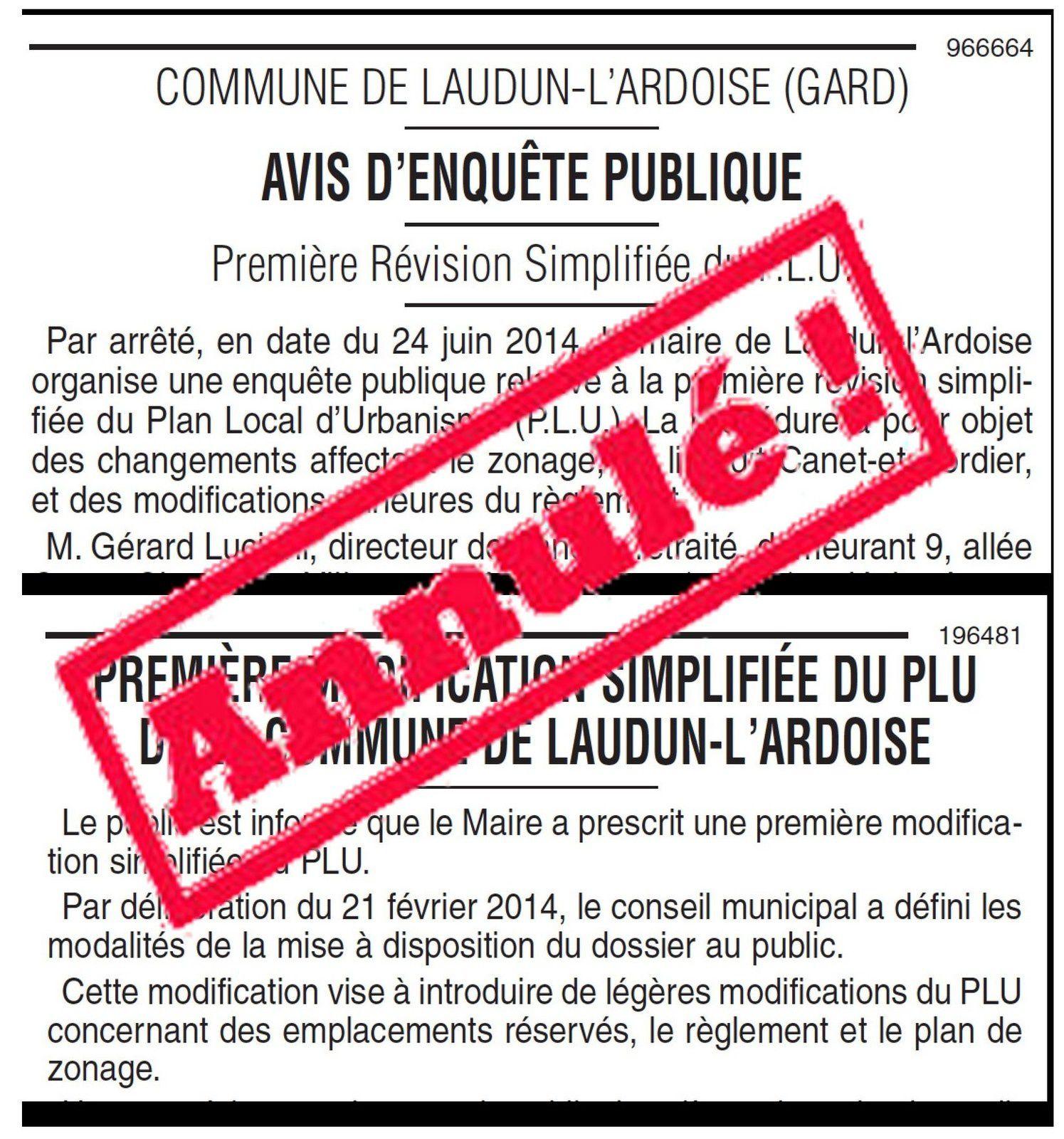 Le Maire de Laudun-l'Ardoise a retiré les deux procédures illégales