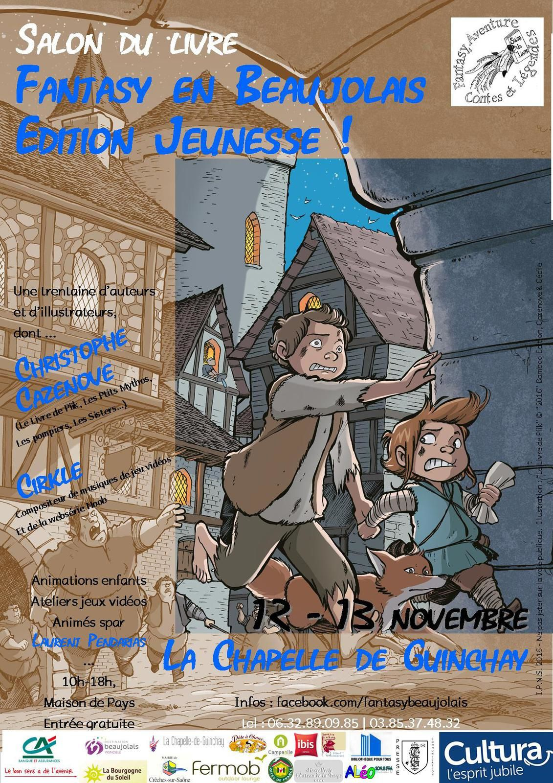"Affiche officielle du salon. Illustration : ""Le Livre de Piik"" © ""2016"" Bamboo Edition, Cazenove & Cécile"