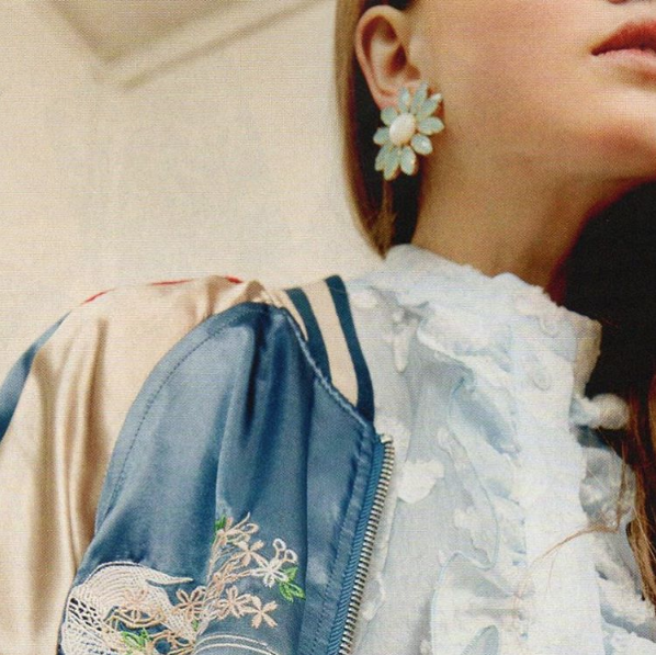 PHILIPPE FERRANDIS' crystal earring featured in french GRAZIA magazine - SS16 fashion special issue - february 26, 2016 - styling Nathalie Jean