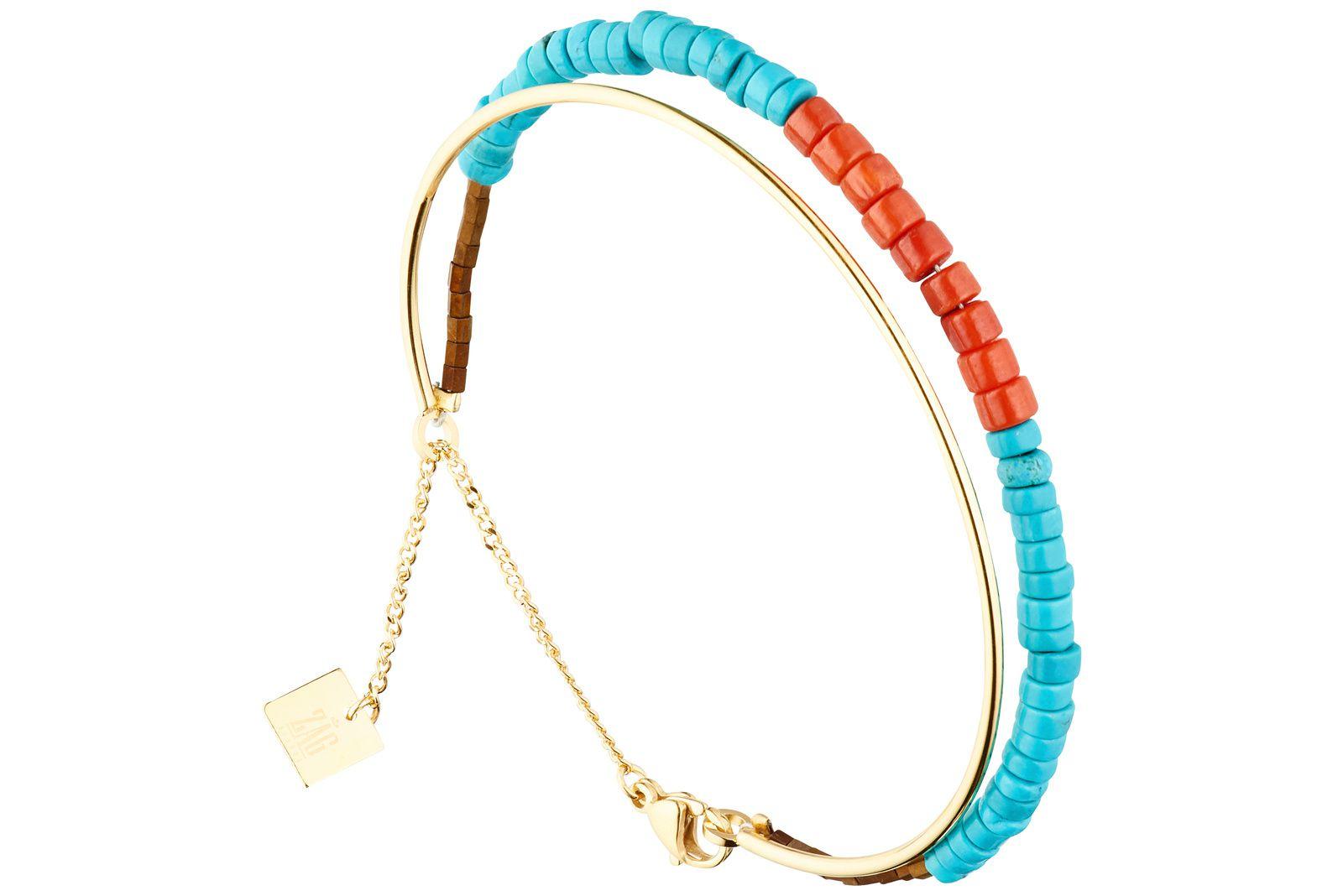 Zag Bijoux, Bracelet jonc, dorure or jaune, bicolore