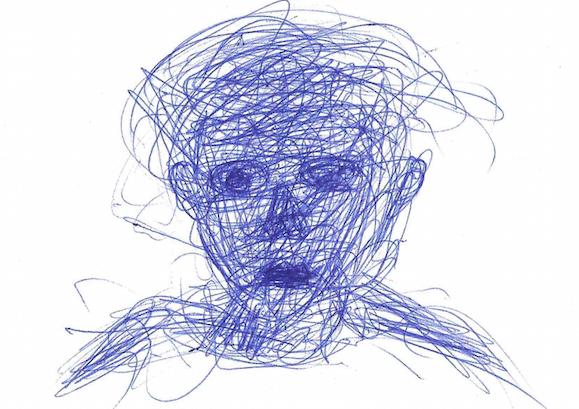 portrait au stylo de bic... (A. Giacometti) comment un -gribouillis- se transforme...