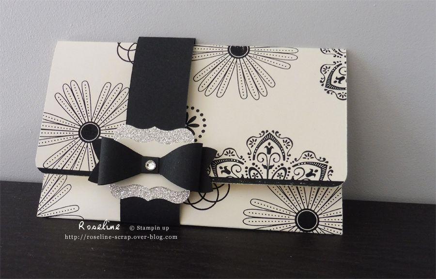 pochette cadeau stampin up (les tampons n'existent plus au catalogue), avec la perforatrice noeud