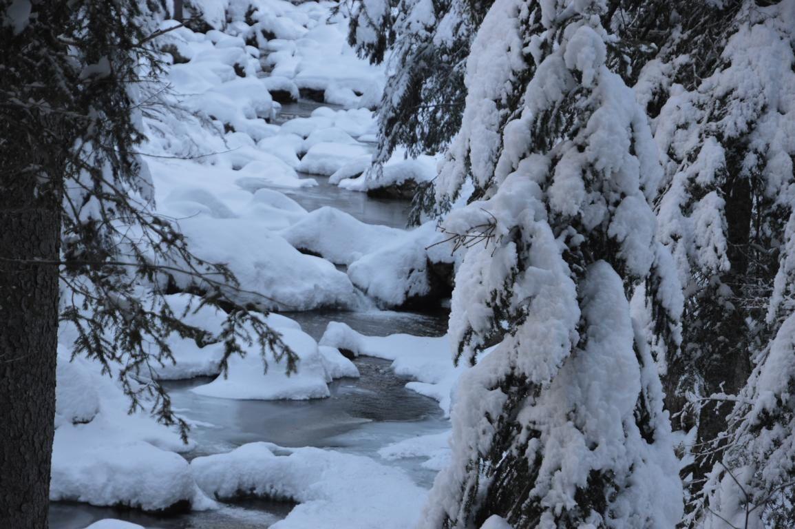 Repérage d'un torrent sous la neige