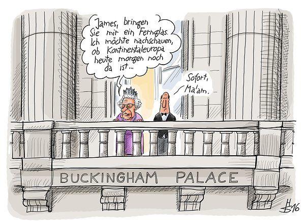 S. M. Elisabeth II : « James, apportez-moi une paire de jumelles. Je souhaite ce matin vérifier si l'Europe continentale est encore là ». James : « De suite Ma'am ». Caricature extraite du quotidien Berliner Zeitung