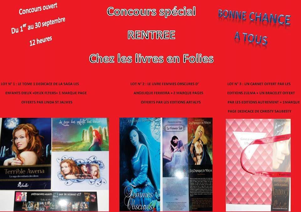 Concours chez &quot&#x3B;Les livres en folie&quot&#x3B;