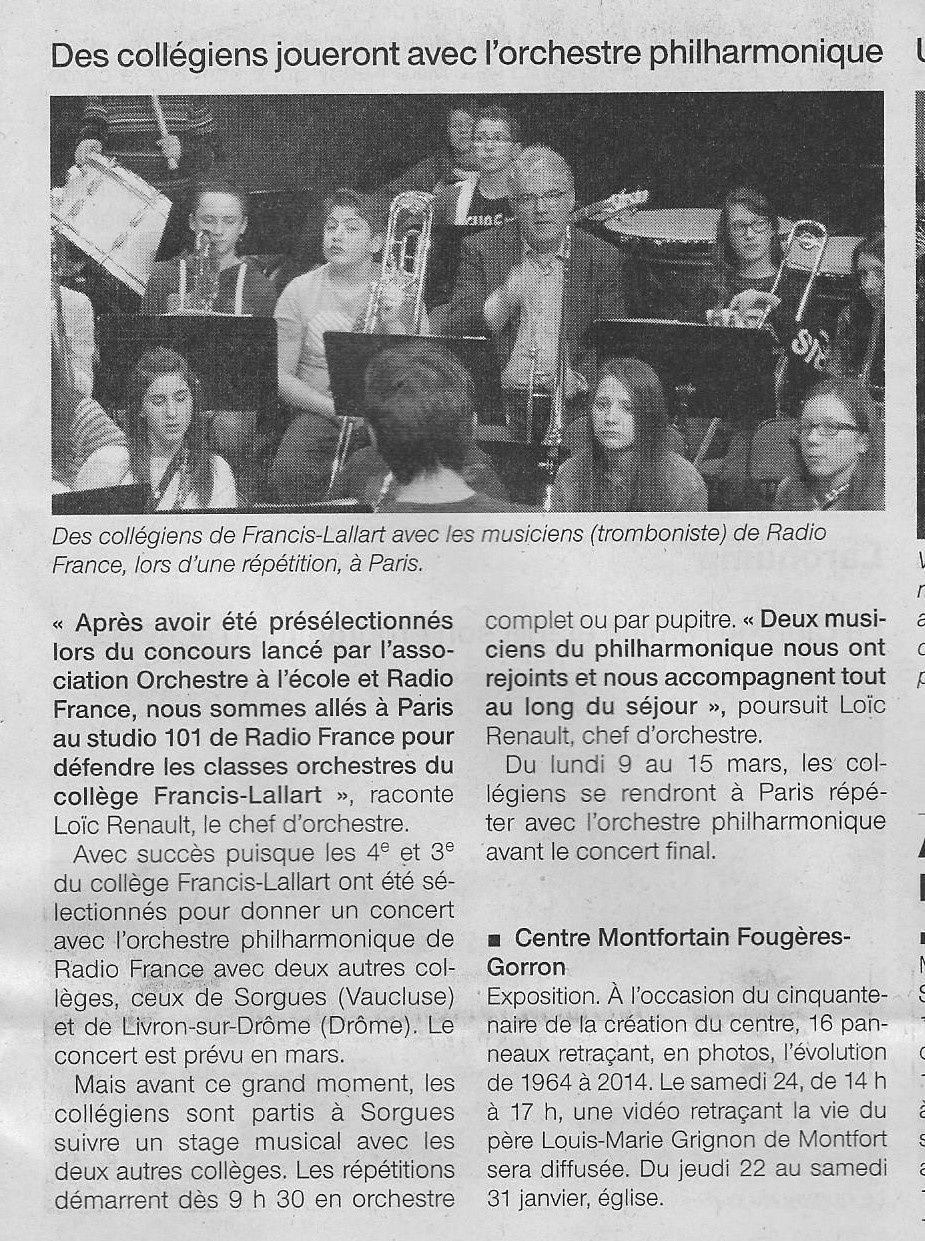 Article du Ouest France du Samedi 24 Janvier 2015