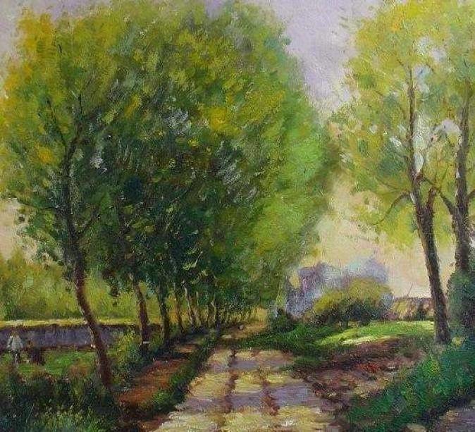 Chemin près d'un village, par Alfred Sisley.