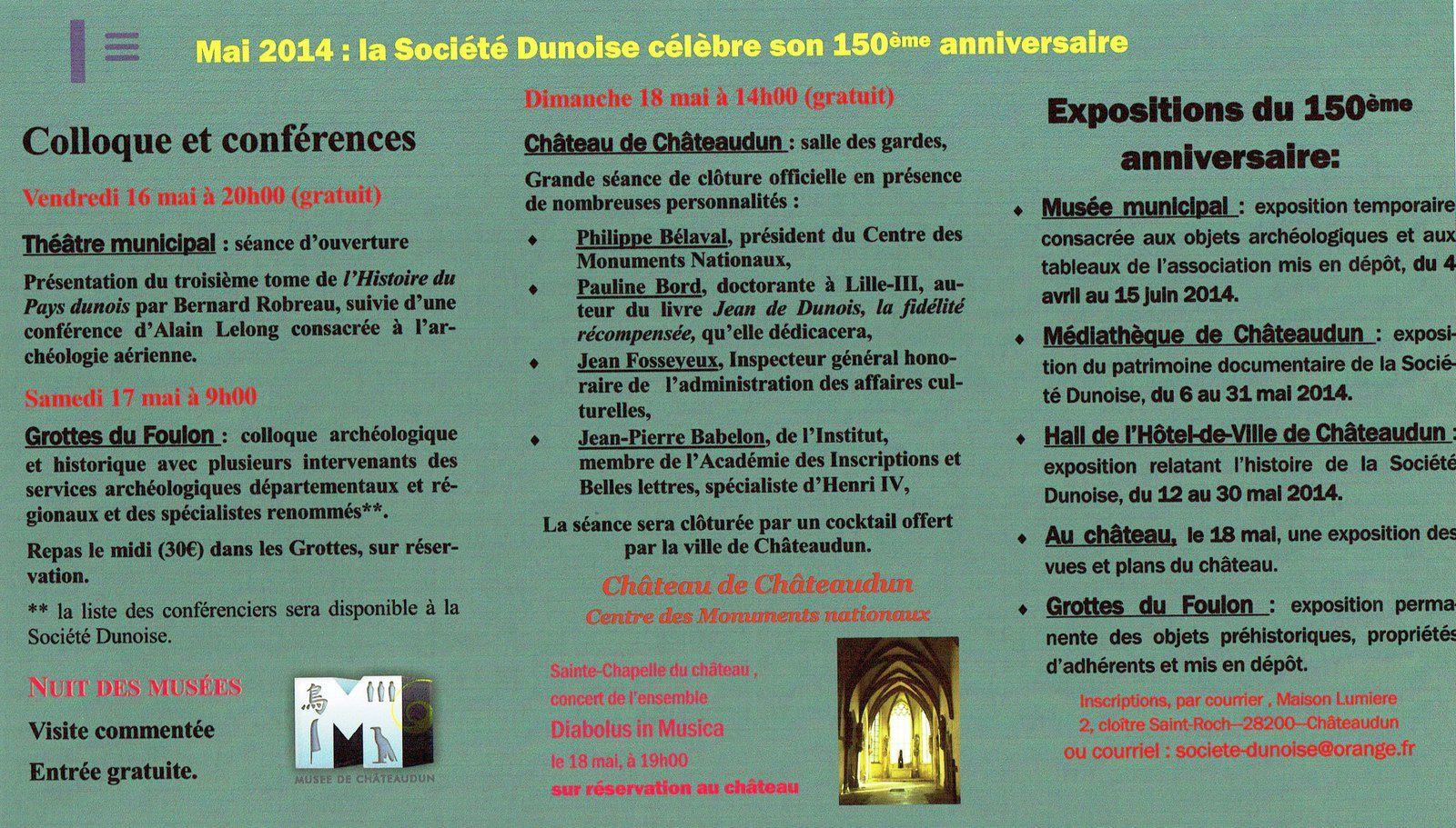 Célébration du 150ème anniversaire : programme