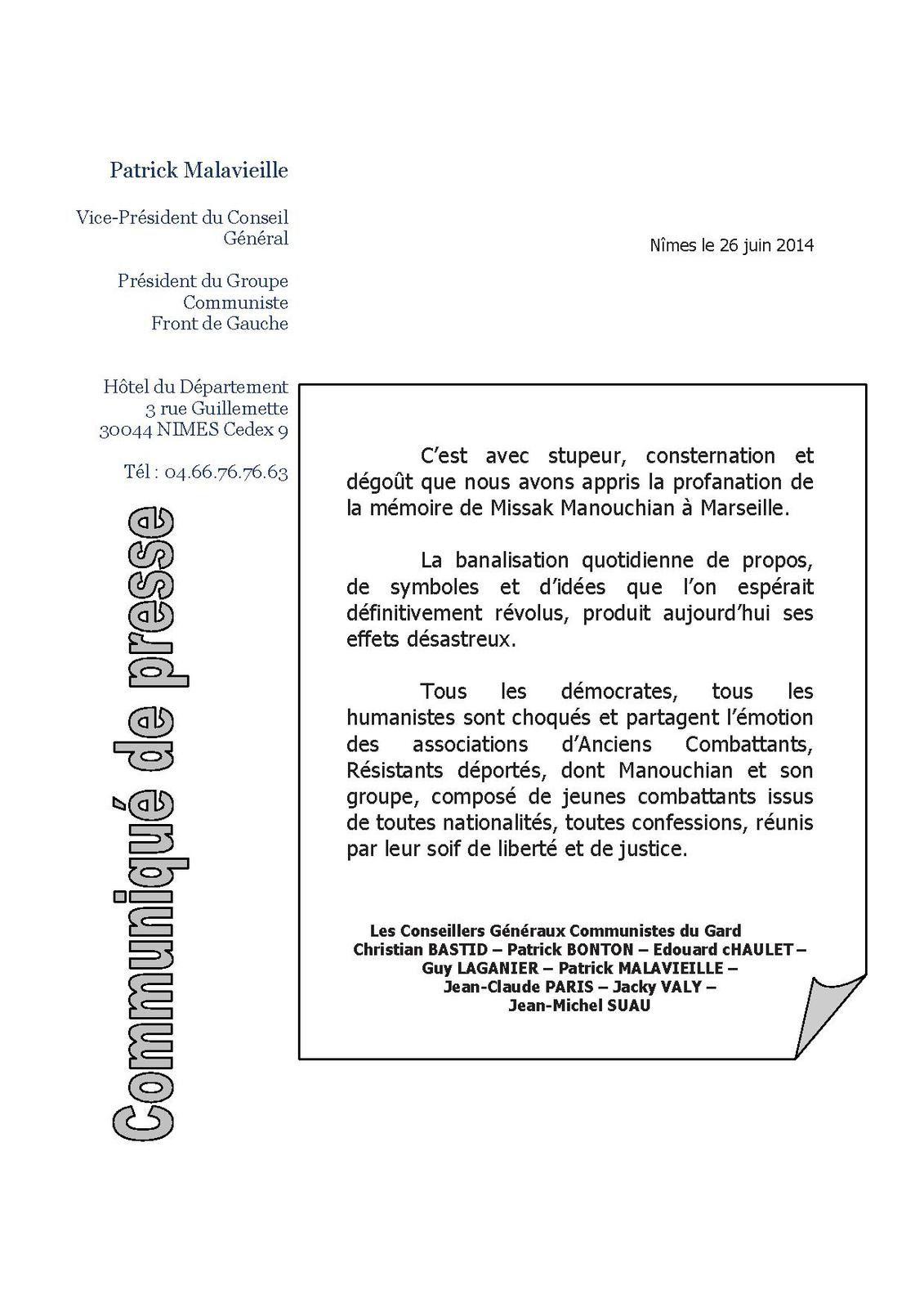 COMMUNIQUE DES CONSEILLERS GENERAUX COMMUNISTES DU GARD SUR LA PROFANATION DE LA MEMOIRE DE MANOUKIAN