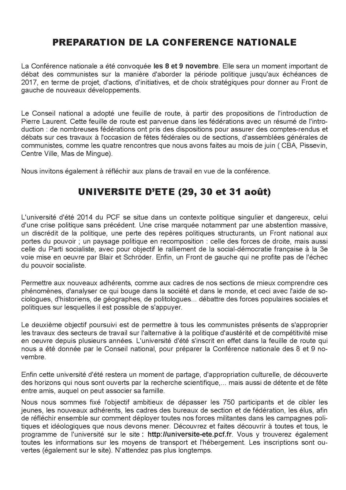 INFO SECTION JUILLET-AOUT 2014