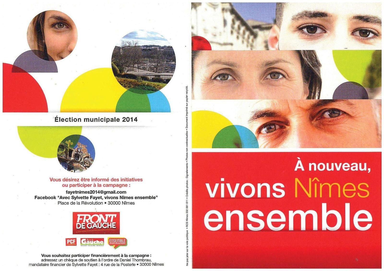 """Lettre de Sylvette Fayet """"Vivons Nîmes Emsemble"""""""