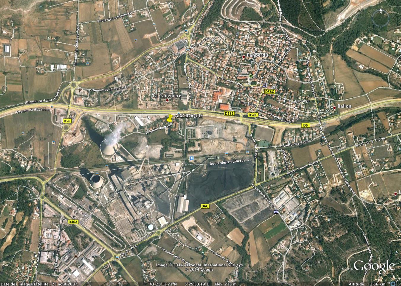 intersection chemin des jardins miniers et chemin du pontet