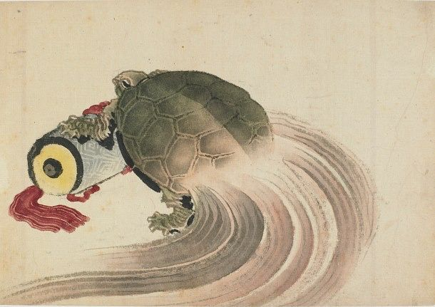 Turtle resting on a scroll 1760-1849 by K. Hokusai