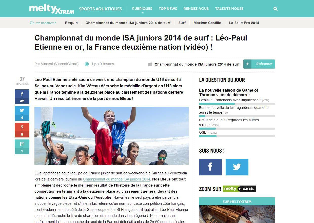 http://www.meltyxtrem.fr/championnat-du-monde-isa-juniors-2014-de-surf-leo-paul-etienne-en-or-la-france-deuxieme-nation-video-a273868.html