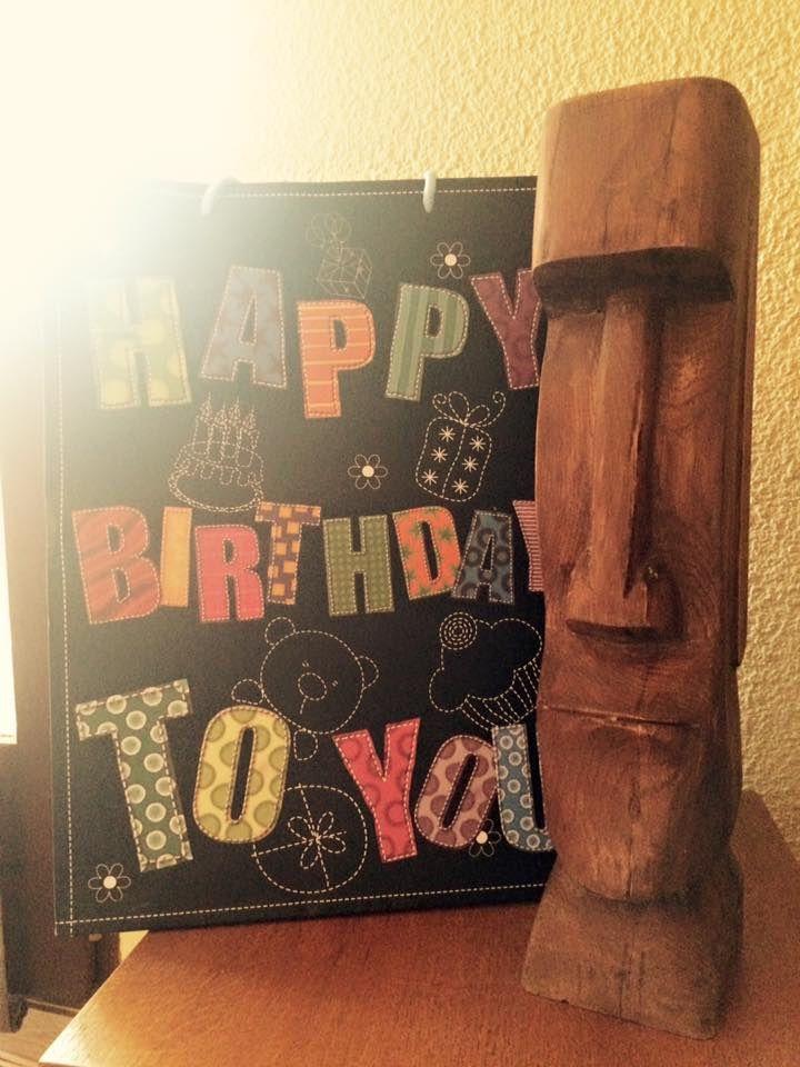 moaie d anniversaire , statuette 45 cm , en chène