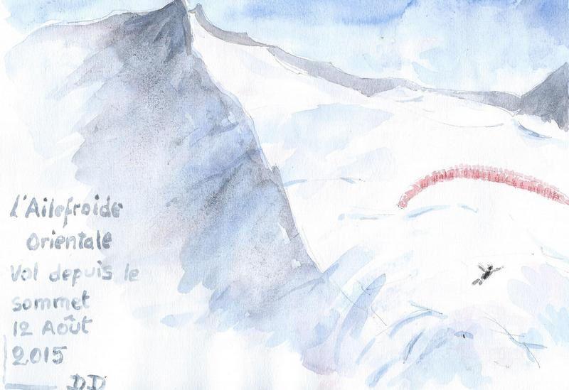 Décollage sous le sommet, aquarelle de Dominique..