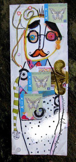 Mail art: carton, collage, marqueur...Le thème: Miro