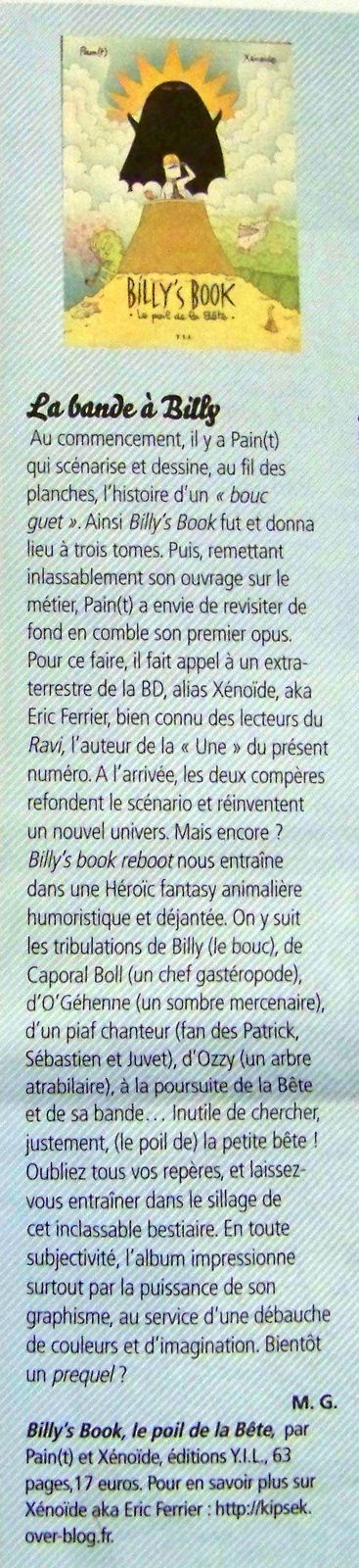 BILLY's BOOK dans le Ravi