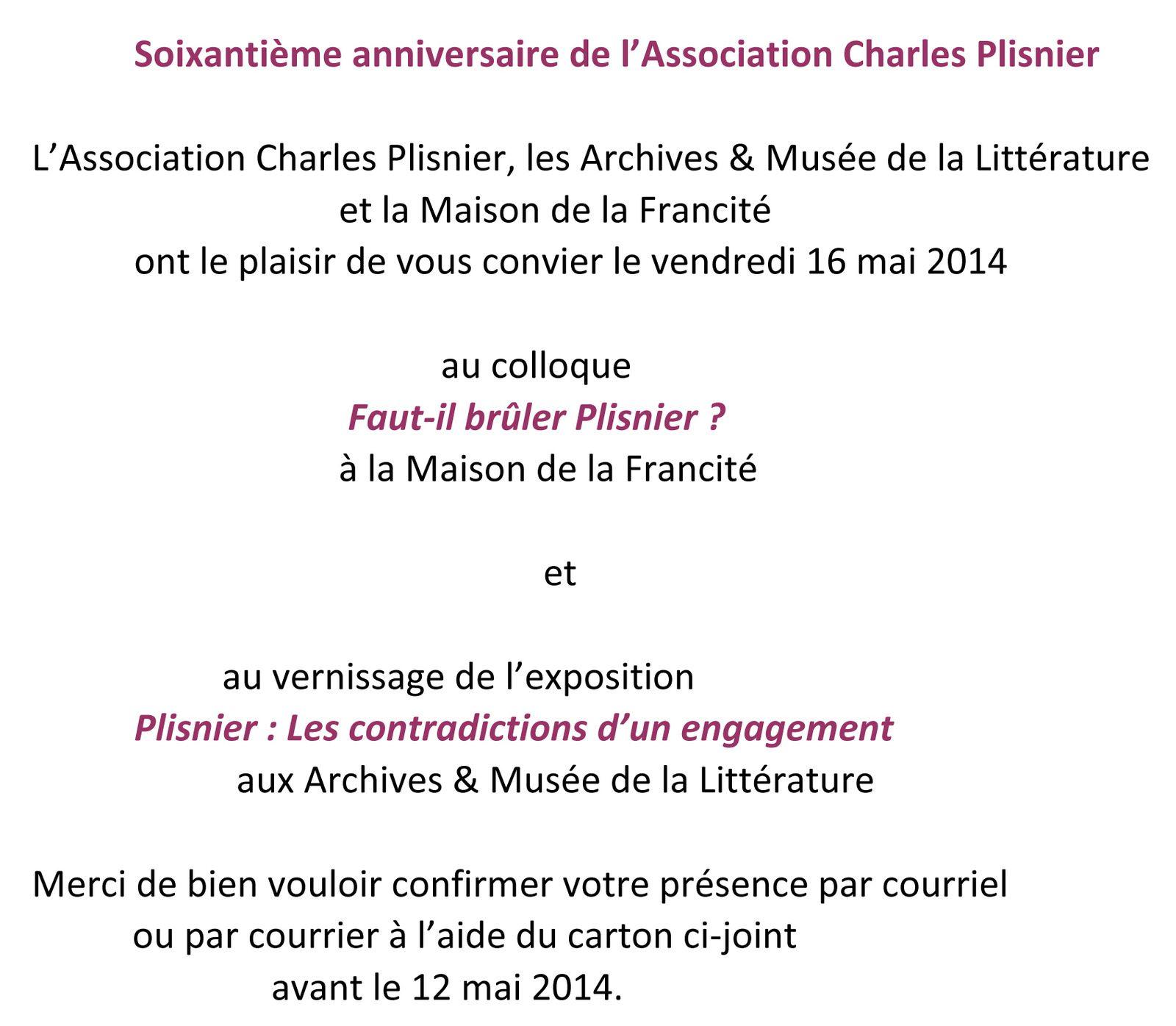 60ème anniversaire de l'association Charles Plisnier