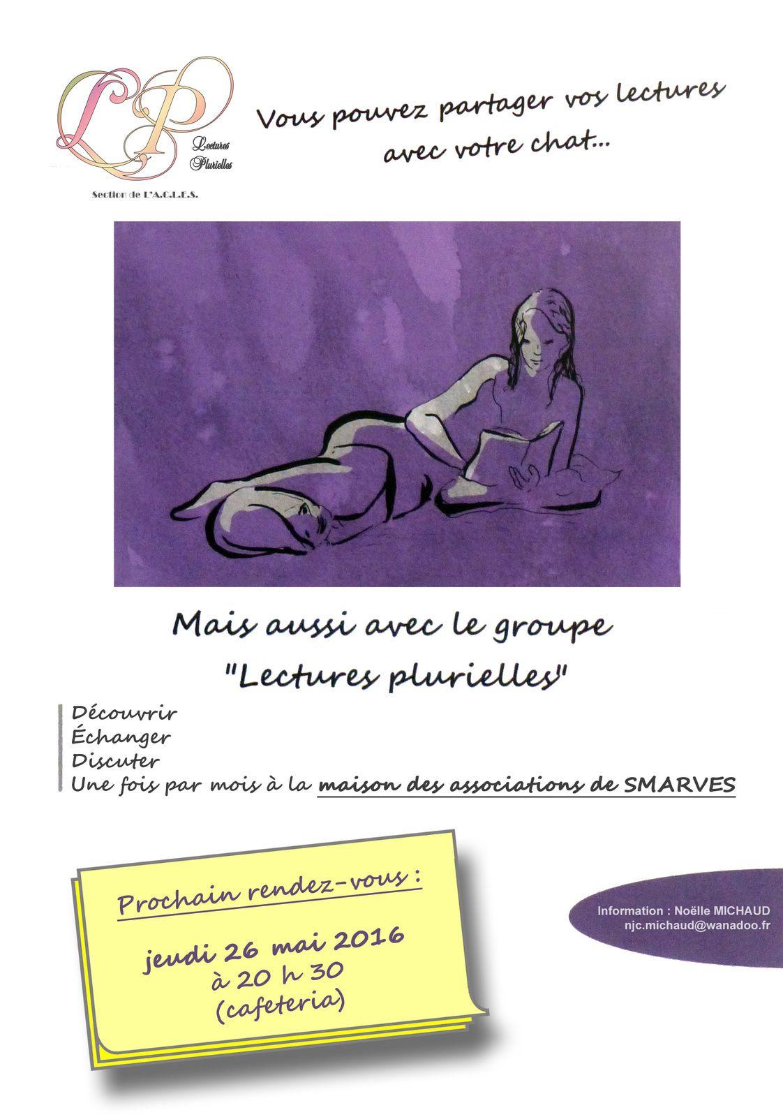 Prochain rendez-vous &quot&#x3B;Lectures Plurielles&quot&#x3B;