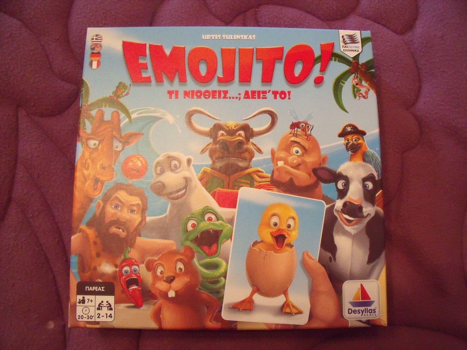 """Le 422e jeu : """"Emojito!"""", avec du texte en grec sur la boîte !"""