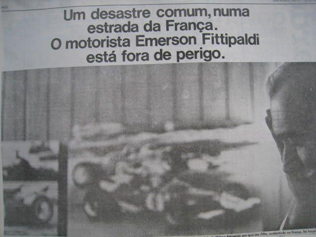 Au Brésil le neuf Juin 1971 ma photo du pére d'Emerson Fittipaldi a fait la une de O Estado de S.Paulo