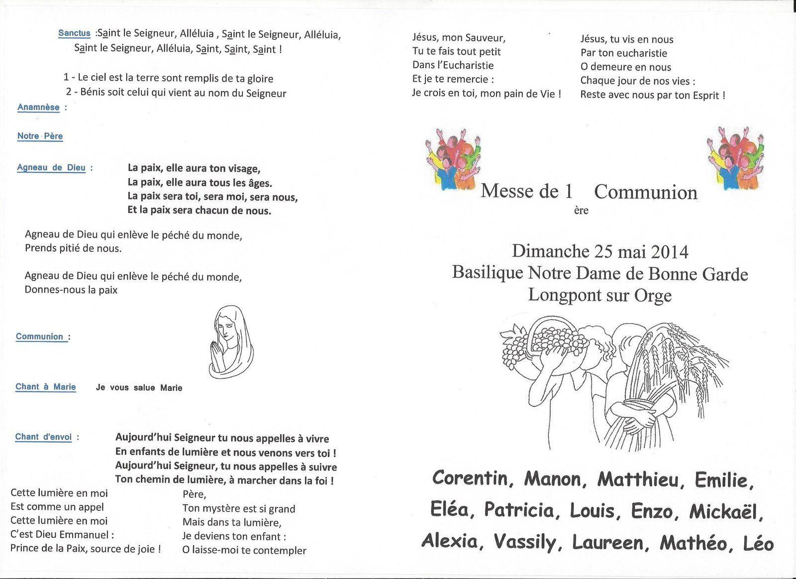 Dimanche 25 Mai 2014-Première des communions
