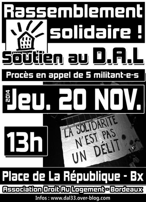 [Bordeaux - 20 nov.] Procès D.A.L Gironde - Appel à rassemblement