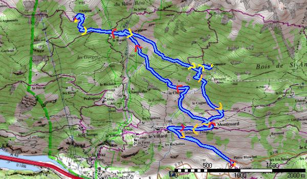 L'itinéraire,env 12 kms, 950 m+.