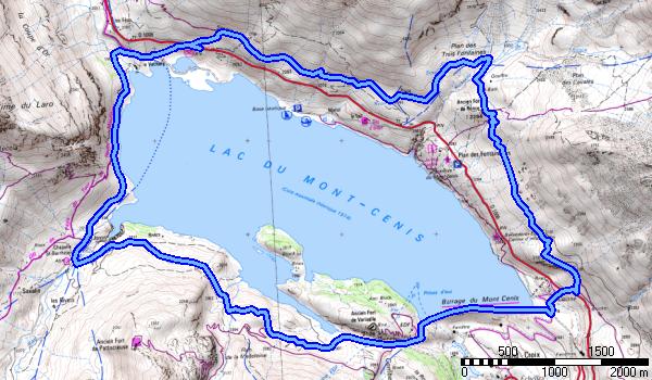 le tour du barrage ,lac du mont Cenis env 20 kms pour 800m+ et 4.5 h