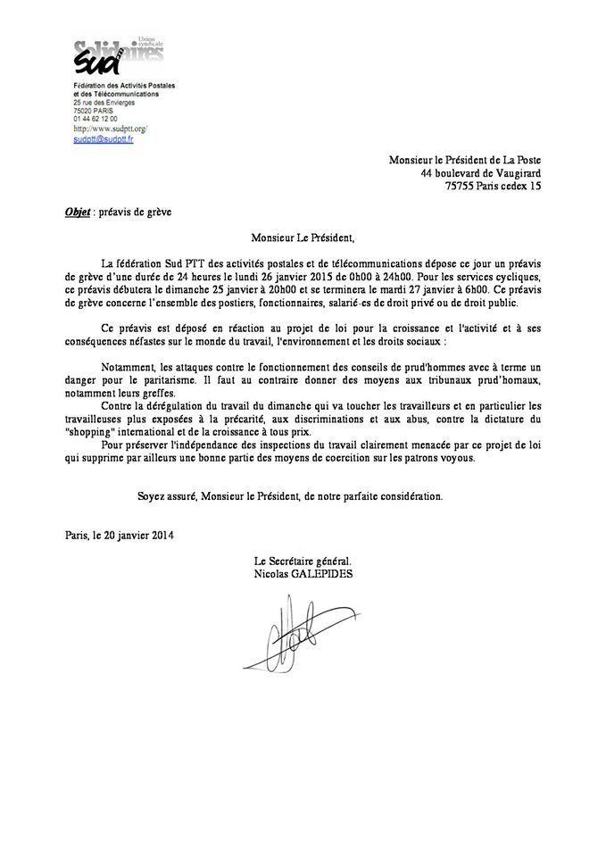 Préavis National contre la loi &quot&#x3B;Macron&quot&#x3B; le lundi 26 janvier 2015