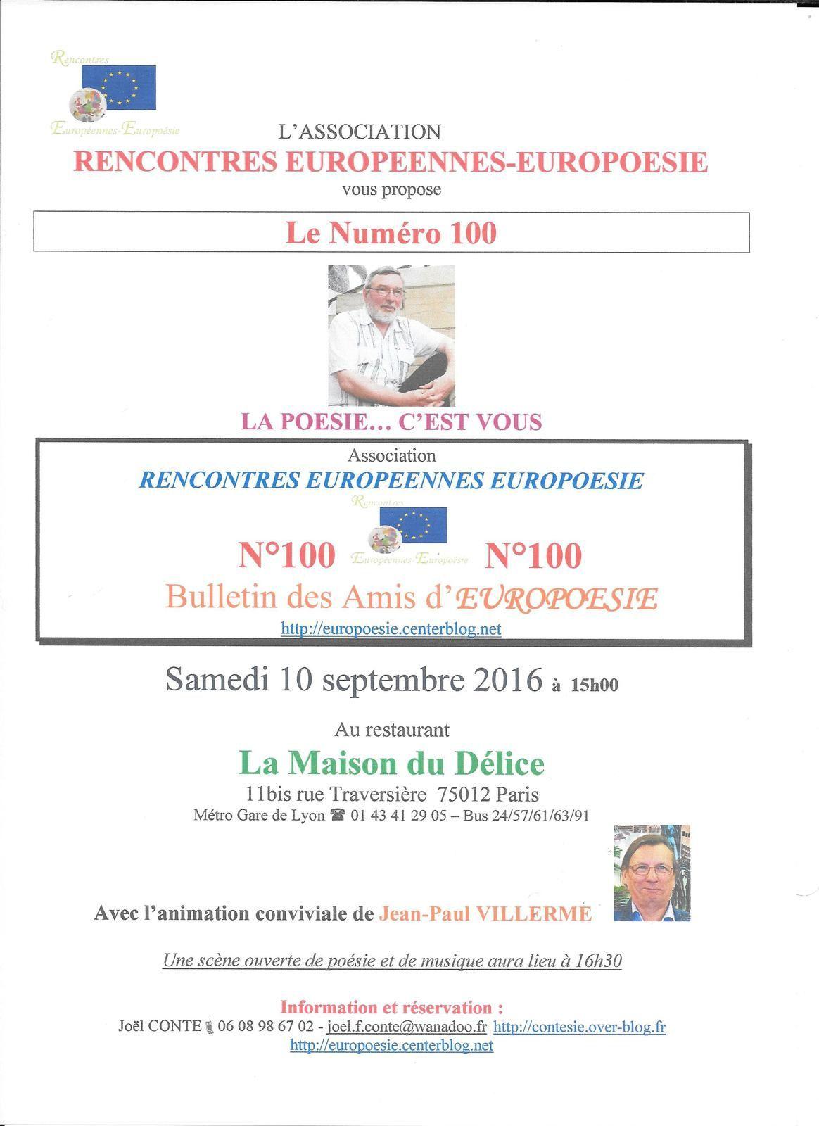 Le Numéro 100 du Bulletin d'Information de l'association Rencontres Européennes-Europoésie
