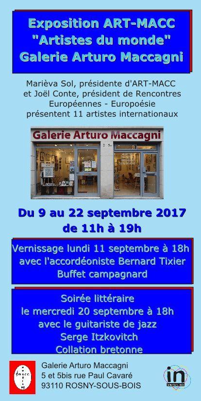 EXPOSITION ART-MACC - ARTISTES DU MONDE - GALERIE ARTURO MACCAGNI  - ROSNY-SOUS-BOIS - DU 9 AU 22 SEPTEMBRE 2017 -