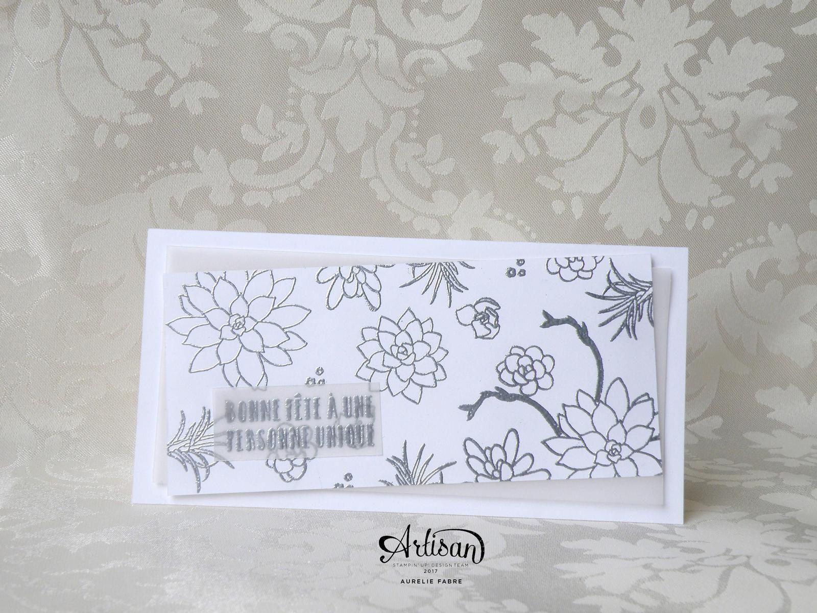 Papier : Murmure Blanc, Vélin. Set Si succulent &#x3B; Poudre à embosser Argent