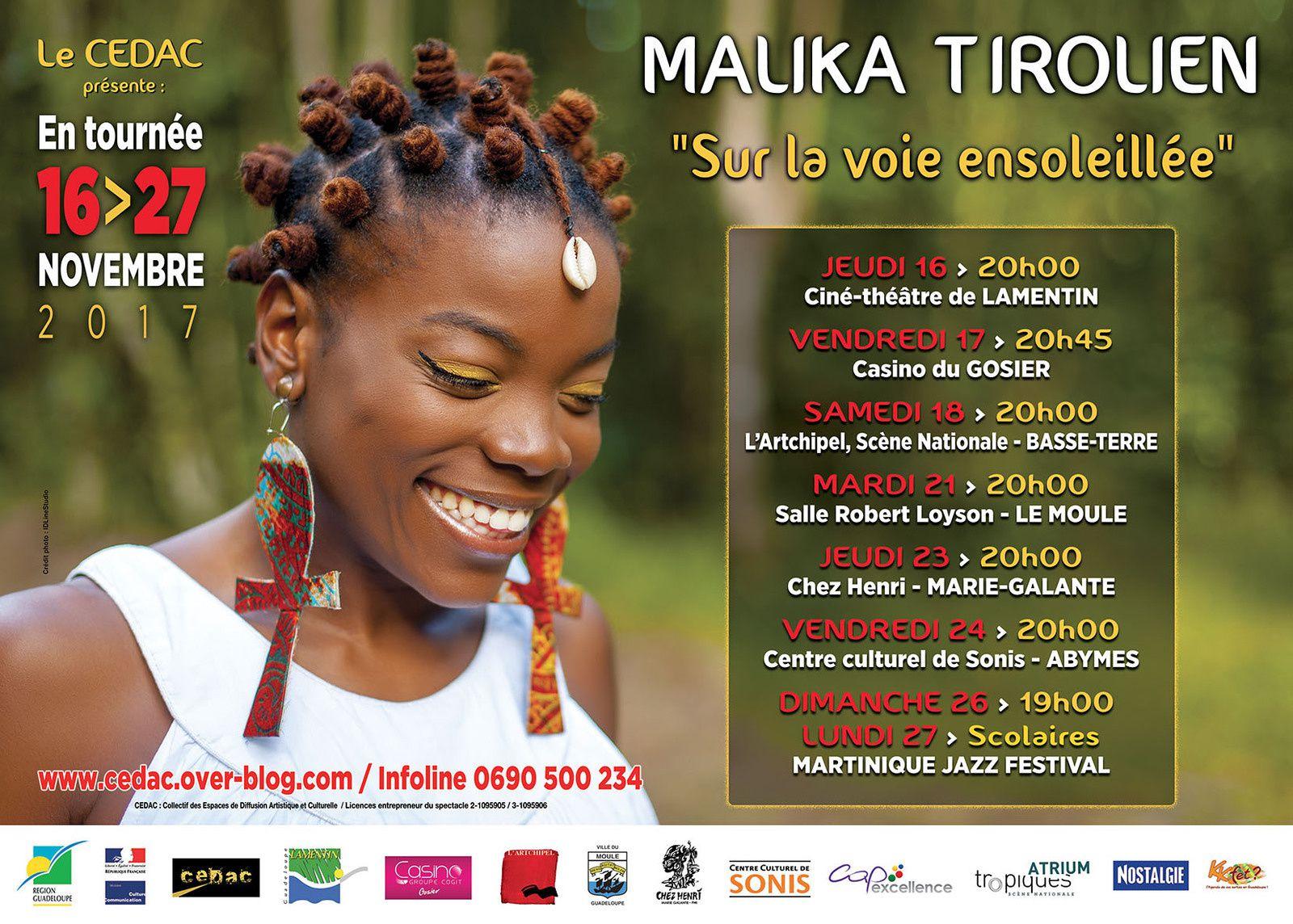 Le retour au pays de MALIKA TIROLIEN pour une tournée CEDAC du 16 au 27 novembre prochain: