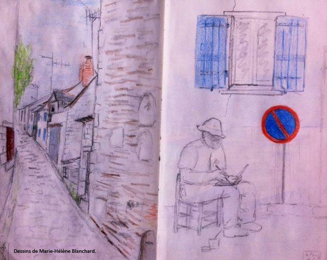 Dessin au crayon de Marie-Hélène Blanchard. Droits réservés.