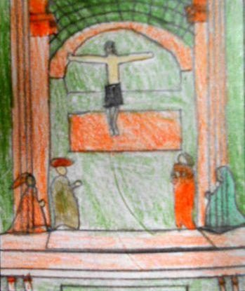 Dessins rapides d'après des oeuvres de Masaccio, De Vinci, Uccello, Van Eyck, Martini, La Tour, Holbein et la cathédrale de Reims, une icône byzantine et un bas-relief roman.