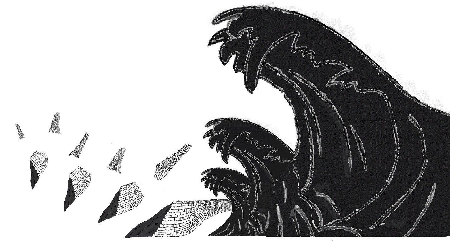 C'est dans l'après-midi que l'énorme vague arriva  Dans un fracas de forge cyclopéenne   Elle charriait des pans entiers de la digue et de maisons des faubourgs  Amplifiant sa rage de destruction  Elle courut sur une grande partie de la contrée  Lorsqu'elle se retira elle ne laissa qu'un cimetière bas de squelette de maisons