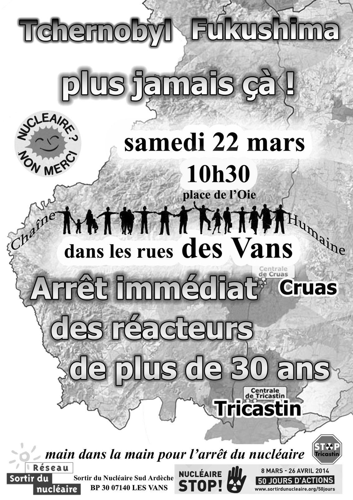 Chaîne humaine antinucléaire le 22 mars aux Vans