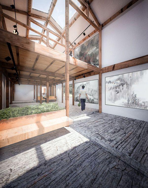 Batisse restaurée et transformée en galerie d'art, à Pingtian.