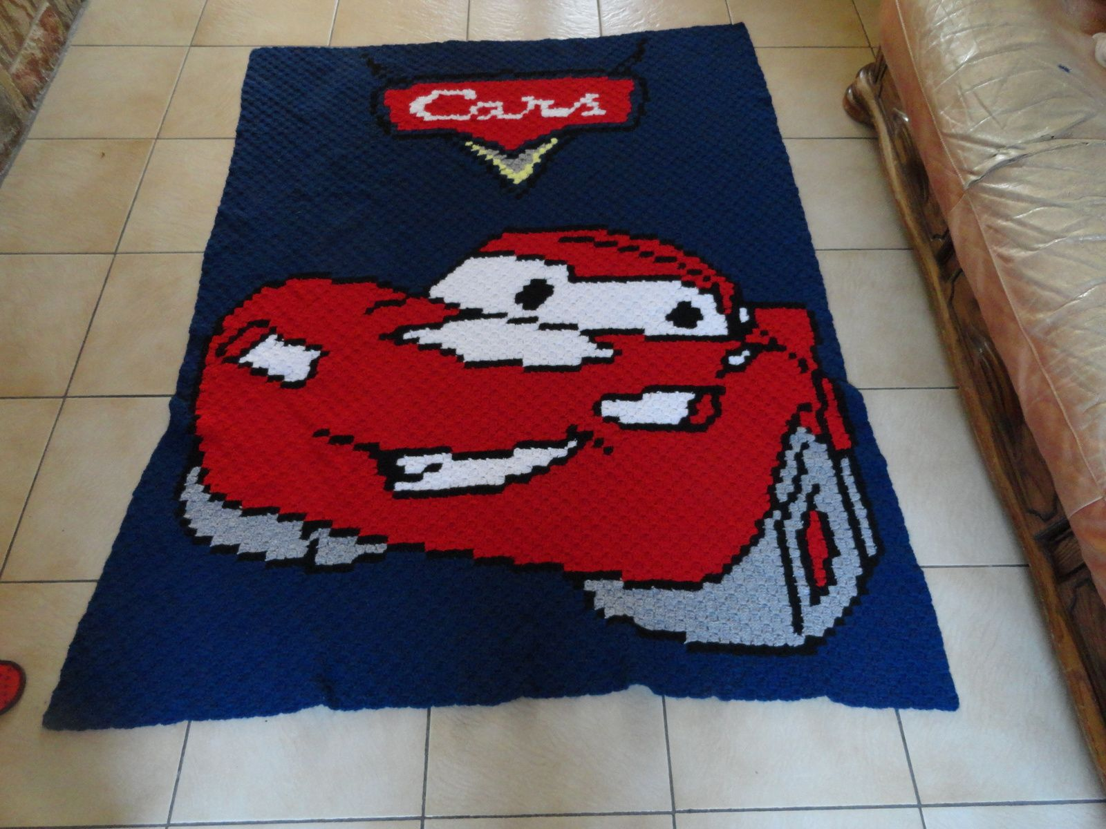 couverture au crochet c2c ,cars
