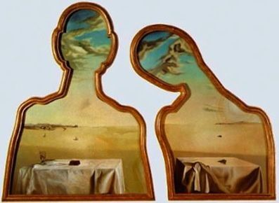 """Couple with Their Heads Full of Clouds"" Salvador Dali"