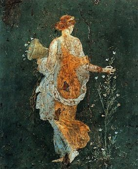 """woman picking flowers in the ruins of Pompeii"""