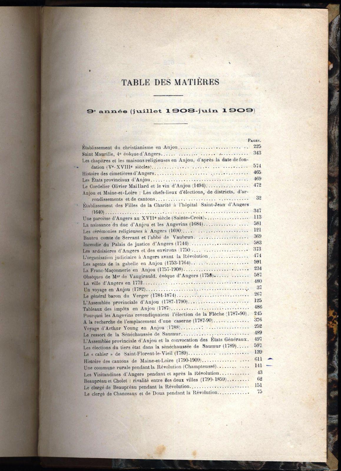 L'Anjou historique reliure 1908-1909