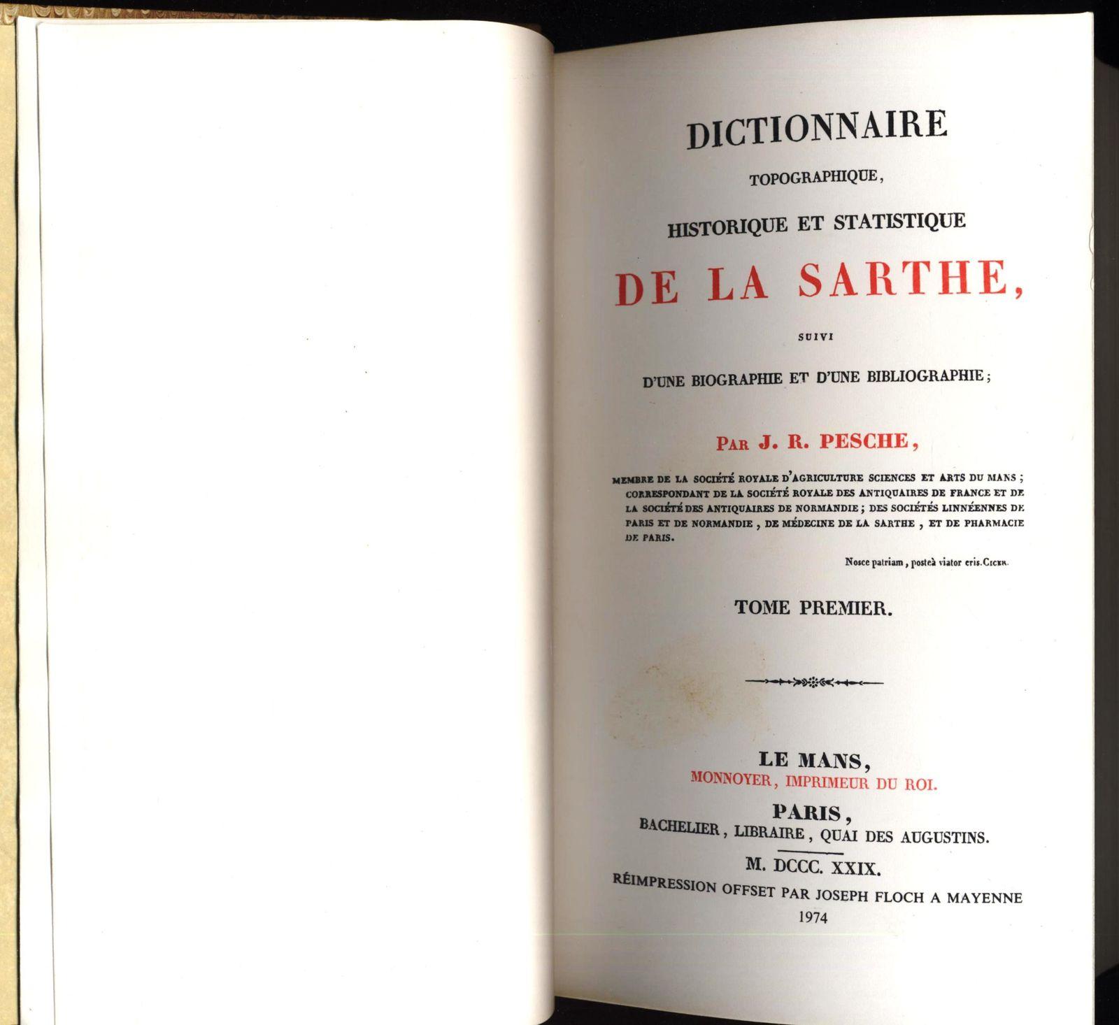 Dictionnaire statistique de la Sarthe 6 tomes reliés