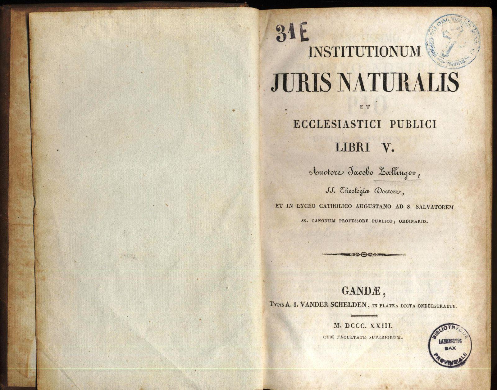 Institutionum Juris Naturalis et Ecclesiastici Publici Libri V, Liber I Jus Naturae Privatum.... 1823