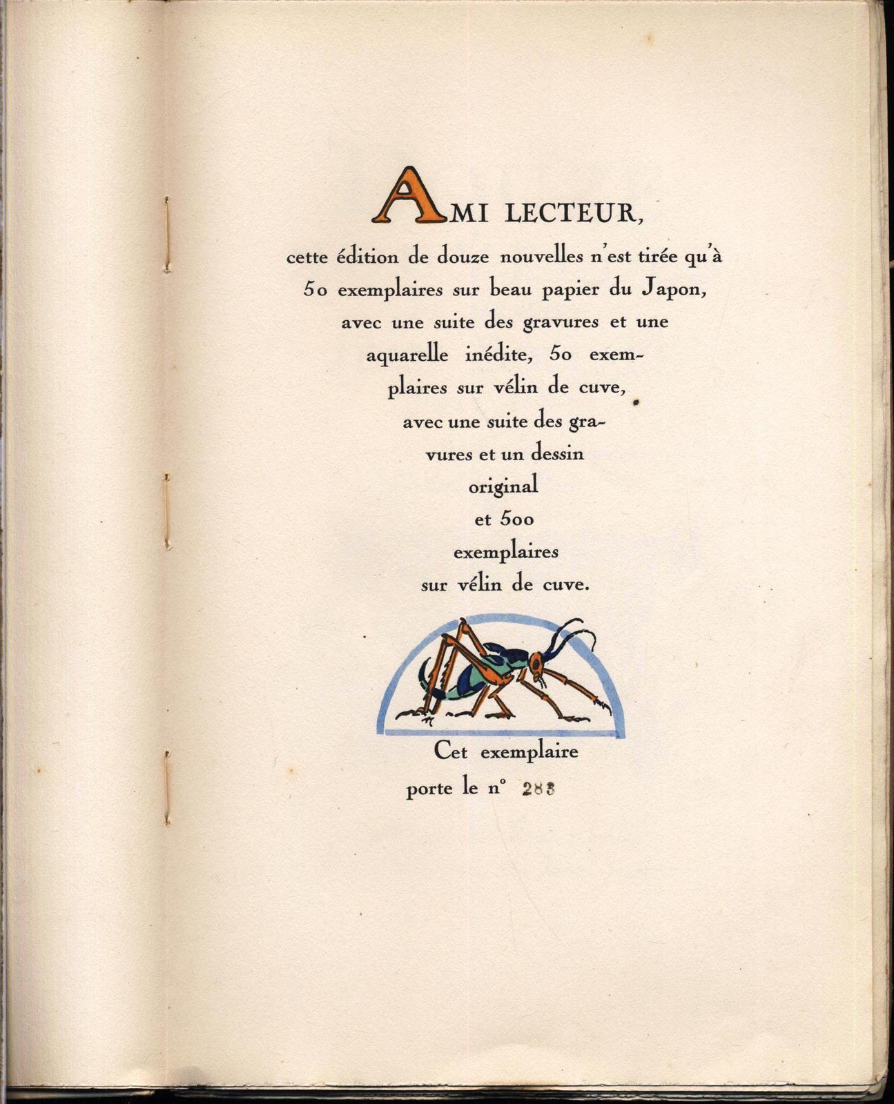 Douze contes de Boccace chez Kieffer 1925 numéroté